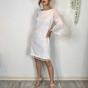 VINCE CAMUTO white cotton eyelet sheath dress